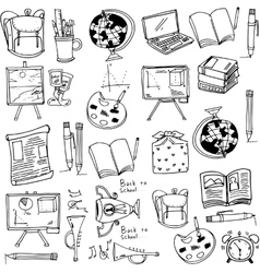 Hand draw education supplies doodles vector image vector image