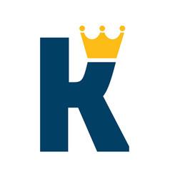 letter k with crown logo design vector image vector image