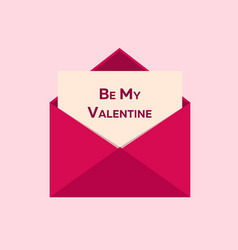 valentines day be my valentine pink envelope on vector image