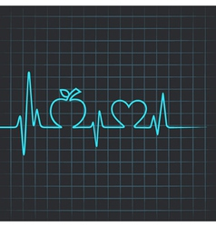 Heartbeat make apple and heart symbol vector image vector image