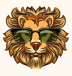lion in glasses in cartoon style vector image vector image