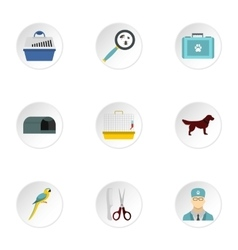 Veterinary animals icons set flat style vector image vector image