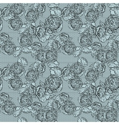 Vintage monochrome roses pattern with lace vector image vector image