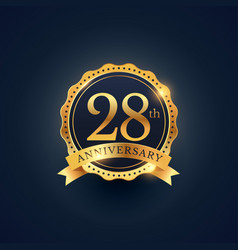 28th anniversary celebration badge label in vector image vector image