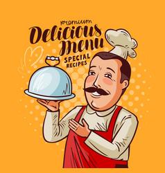 delicious menu happy chef with tray in hand vector image vector image