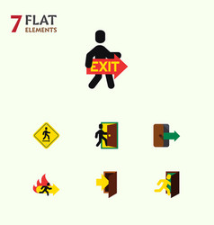 flat icon exit set of entry direction pointer vector image vector image