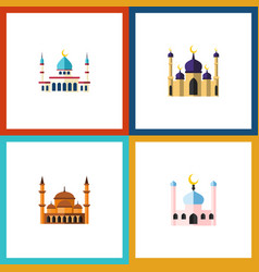 flat icon minaret set of mosque islam vector image vector image