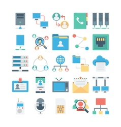 Network and Communication Colored icons 1 vector image