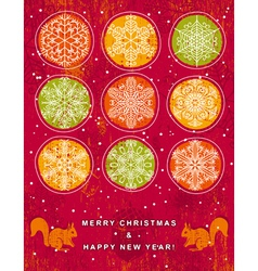 red christmas background with hand draw snowflakes vector image
