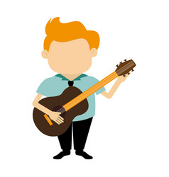 colorful silhouette faceless singer with acoustic vector image