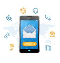 Contact us web design online concept mobile phone vector