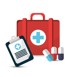 hospital prescription pill capsule suitcase icon vector image