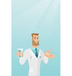Pharmacist giving pills and a glass of water vector