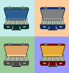 set lot of money in a suitcase vector image vector image