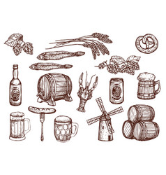 sketch icons of beer snacks and brewery vector image vector image