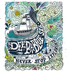 Watercolor vintage label with a ship whale and vector image vector image
