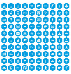 100 world tour icons set blue vector
