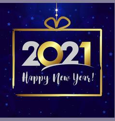 2021 happy new year gift golden vector
