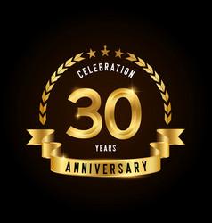 30 years anniversary celebration logotype golden vector