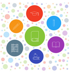 7 education icons vector image
