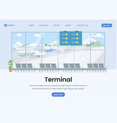 Airport terminal landing page flat template vector