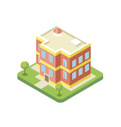 Apartment building isometric 3d icon vector