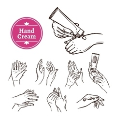 Applying hand cream black icons set vector