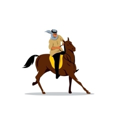 Arab sheikhs on a brown horse sign vector