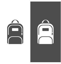 backpack icon on a dark and white background vector image