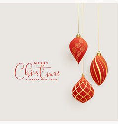beautiful christmas balls decoration background vector image