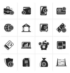 Black Financial banking and money icons vector image