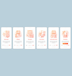 Blogging business onboarding mobile app page vector