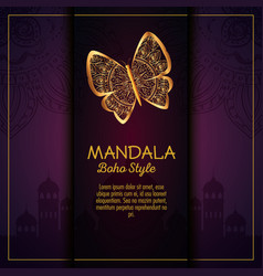 Butterfly with skin mandala boho style vector