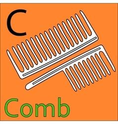 C letter alphabet Coloring book comb vector image