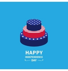 Cake with star and strip Happy independence day vector