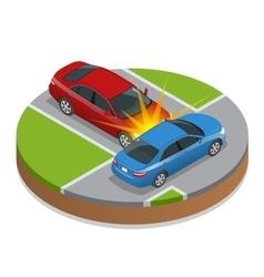 Car accident Car crash Flat 3d isometric vector image