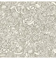 Cartoon hand-drawn doodles on subject latin vector
