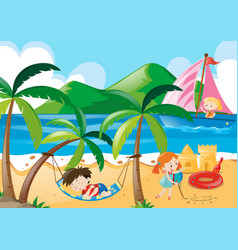 Children napping and playing on beach vector