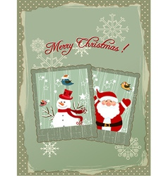 Christmas with photo frame and santa vector