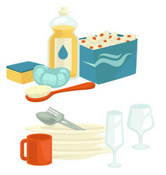 Clean dishes and cleaning tools with detergent vector
