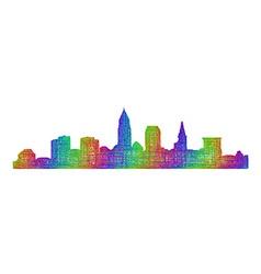 Cleveland skyline silhouette - multicolor line art vector