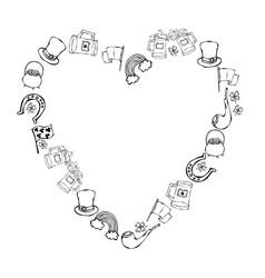 Collection irish symbols heart shape vector