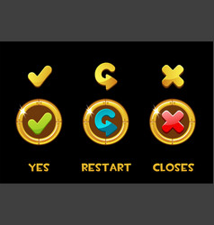 Collection isolated golden buttons and vector