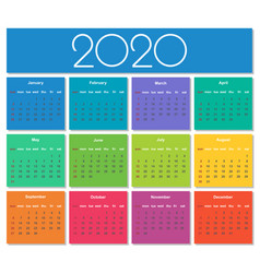 colorful year 2020 calendar vector image