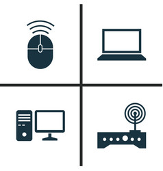 Computer icons set collection of router personal vector