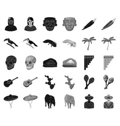 Country mexico blackmonochrome icons in set vector