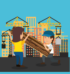 Couple builders characters working vector