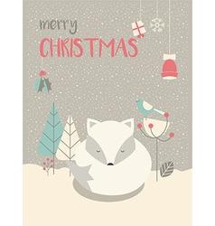Cute arctic christmas sleepy bafox vector