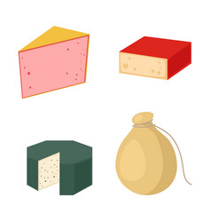 Delicious fresh cheese variety italian dinner icon vector
