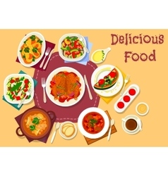 Dinner meal top view icon for food theme design vector image